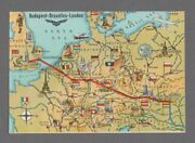 Malev Hungarian Air Transport Route Map Airline Issue Postcard