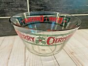 Vtg Mcm Stained Glass Look Merry Christmas Cora Large Punch Serving Bowl