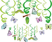 30ct Summer Spring Butterfly Party Supplies Hanging Swirl Decorations For Girls