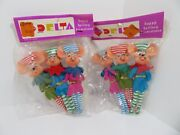 2 Packages Of 3 Vintage Delta Mice Christmas Ornaments 5 Tall Japan 1960`s