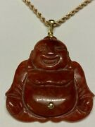 Vintage Large Red Jade 14k Gold Laughing Buddha Pendant Necklace 14k Rope Chain