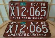 Vintage 1965 Pair Antique Maroon Wisconsin License Plate Tags