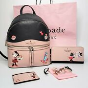 Minnie Mouse X Kate Spade Lot W/ Backpack Large Wallet Card Holder Keychain Euc