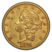 1874-s G20 Liberty Head Gold Double Eagle - Luster - Type-2 - Sku-g1091