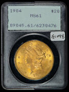 1904 20 Gold Liberty Head Double Eagle - Ogh Rattler Pcgs Ms 61 - Sku-g1098