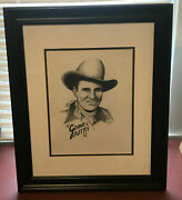 2006 Gene Autry/ Hand Drawn Black Color Pencil Drawing/ Matted And Framed 16x20