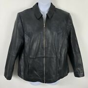 Amanda Smith 20w Leather Jacket Zipper Front Black Pockets Collared Lined As Is