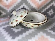 Antique Covered Butter Dish W/ Drip Drain Trademark Ctm Est 1762 England Roses