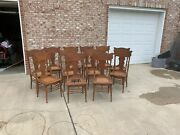 Antique Oak Pressed Back Chairs Set Of 12