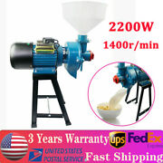 110v 2200w Wet Electric Feed Flour Mill Cereals Grinder Corn Grain Wheatandfunnel