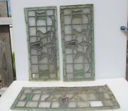 Antique Stained Glass Window Panels Victorian Old Nouveau Flower Project -26x11