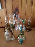Lot Of 5 Small Vintage Oil Lamps Ceramic/glass/brass