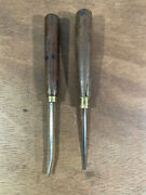 Antique Wood Carving No.2 Corner And No.13 Front Bent Chisels Woodwork Tools