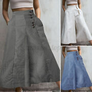 Womens High Waist Wide Leg Flared Palazzo Casual Baggy Daytime Pant Long Trouser