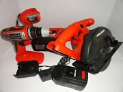 Black And Decker 6pc. Combination Tool Set 18v Battery Charger Saws Drill Light