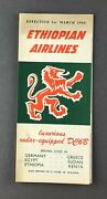 Ethiopian Airlines System Timetable March 1960 Route Map Africa