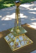Antique Arts And Crafts Style Mission Brass And Slag Glass Hanging Light Fixture