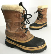 Sorel Caribou Womenandrsquos 6 Vtg Leather Boots Wool Liners Winter Snow Warm Lace