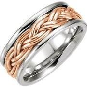 14k Two-tone Gold 8mm Hand Woven Braided Comfort Fit Wedding Band