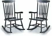 Outdoor Rocking Chairs Set Of 2 Wooden Patio Furniture For Deck Balcony Garden
