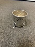 Sterling Silver Aesthetic Rams Head Feet Repoussandeacute Floral Design Toothpick Holder