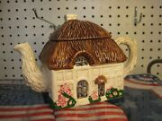 Ron Gordon Designs Thatched Roof English Country Cottage Figural Teapot