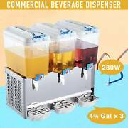 3x4.75 Gal Commercial Drink Dispenser For Soda Iced Tea Water Juice Etc Pc Tanks