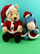 Winnie The Pooh And Eyeor Plush Santa Disney Store Red Glitter