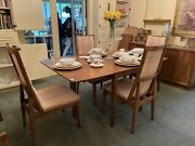 Kroehler Mid Century Mcm Expansion Dining Table 6 Chairs And Sideboard.