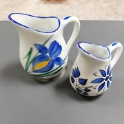 2 Hand Painted Blue Iris Floral Porcelain Mini Creamers Pitchers France Signed