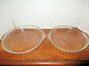 Vintage Pair Of Pyrex Clear Glass Pie Plates 208 And 209 Made In U.s.a- 9.5 And 9