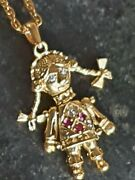 9ct Gold Ruby Articulated Rag Doll Pendant On Necklace Chain 375 Antique 6.85g