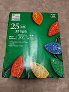 2x New Home Accents Holiday 25ct C9 Faceted Led Christmas Lights Indoor/outdoor