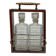 Vintage Pressed Glass Liquor Wine Decanters W/ Dovetailed Walnut Carrying Box