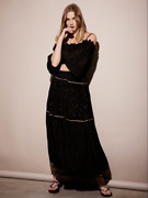 New Xs 300 Free People Lily And Lionel Black And Gold Esmeralda Maxi Peasant Dress
