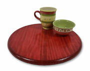 Red Lazy Susan Turntable Round Distressed Stained Wooden Kitchen Organizer