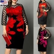 Plus Size Women Floral Flared Sleeve Midi Dress Ladies Casual Party Work Dresses