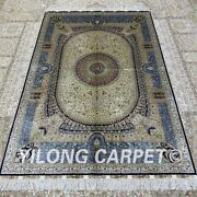 Yilong 4and039x6and039 Medallion Handwoven Silk Carpet Oriental Antistatic Floor Rug Z363a