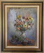 Paul Collomb Oil On Canvas Authentic Painting And Signed 87x73cm