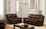 Living Room 2pc Sofa Set Sofa Loveseat Brown Top Grain Leather Couch