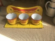 Vintage French Enamelware Laundry Set. Bright Deco Yellow - Red.