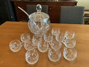 17 Pc Hand Blown Crystal Dorotheen Hutte Punch Bowl Set W/ladle