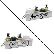 Farmhouse Bathroom Decor Box, 2 Sides With Funny Sayings - Wooden Toilet Paper