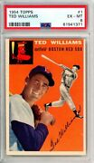 1954 Topps Ted Williams 1 Psa Grade 6 Ex-mt Cond @hi-end Invest