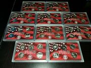 1999-2008 S State Quarter 90 Silver Proof Set No Boxes Or Coas 50 Coins