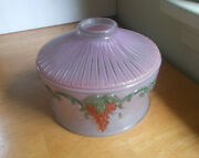 Antique Pink Frosted Satin Glass Lamp Shade Hand Painted Art Deco Flowers