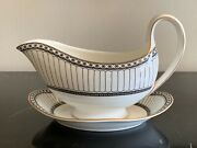 Wedgwood Colonnade Black Gravy Sauce Boat With Under Plate