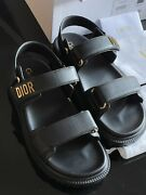 Christian Dior Dioract Black Lambskin Leather Logo Flat Sandal 37 Sold Out New
