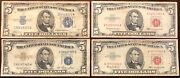5 Red And Blue Seal Bank Notes