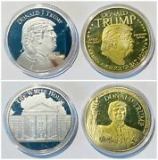 Set Of 2 Medals United State Us President Donald Trump 41mm Token Coin Unc